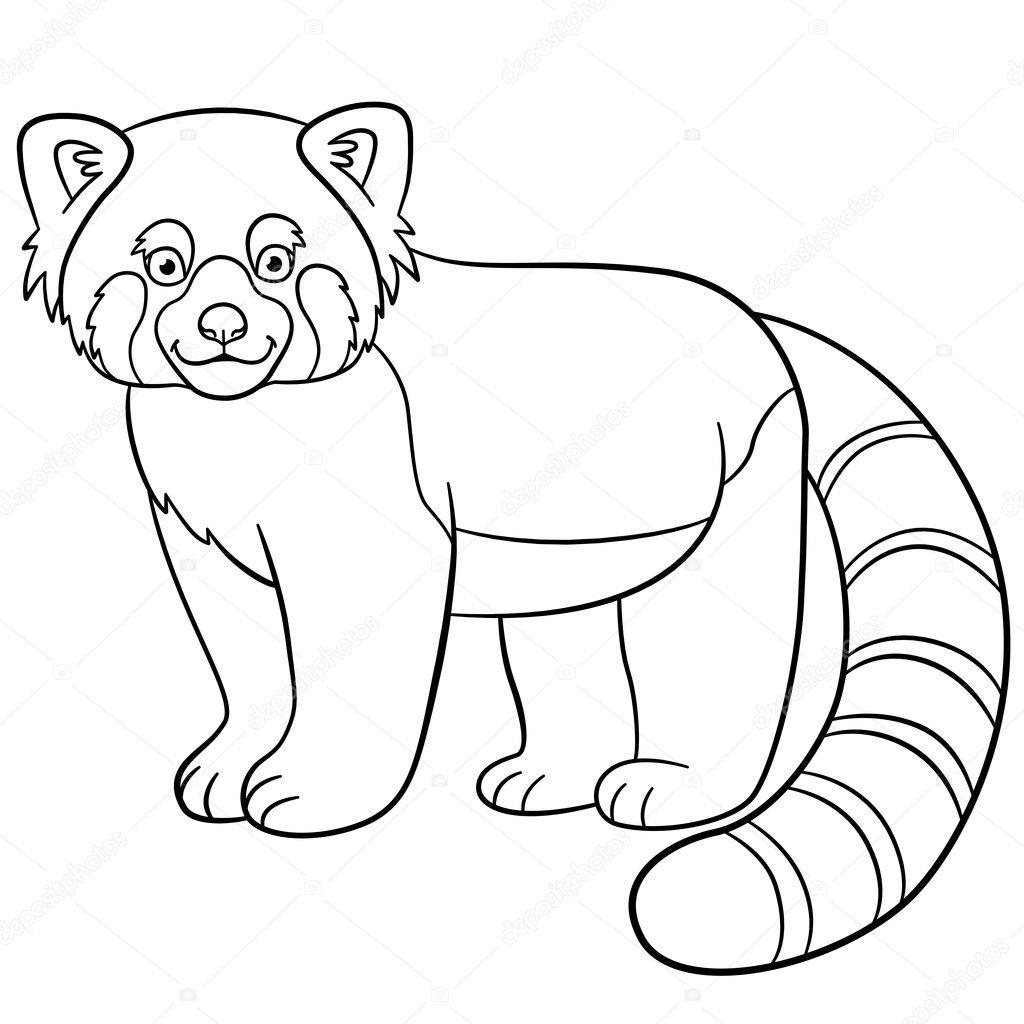 kleurplaten kleine schattige rode panda glimlacht