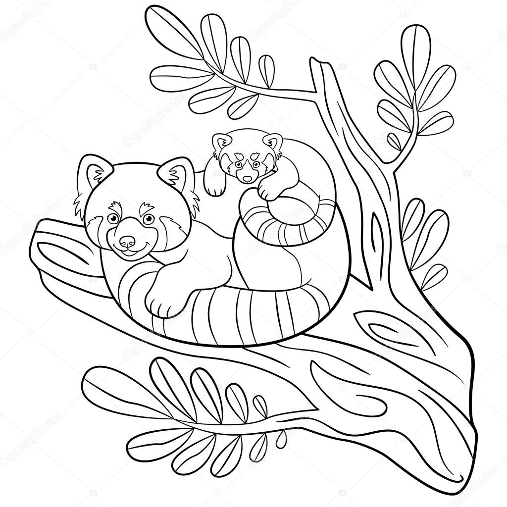 Coloring pages mother red panda sits on the tree branch with her little cute baby and smiles