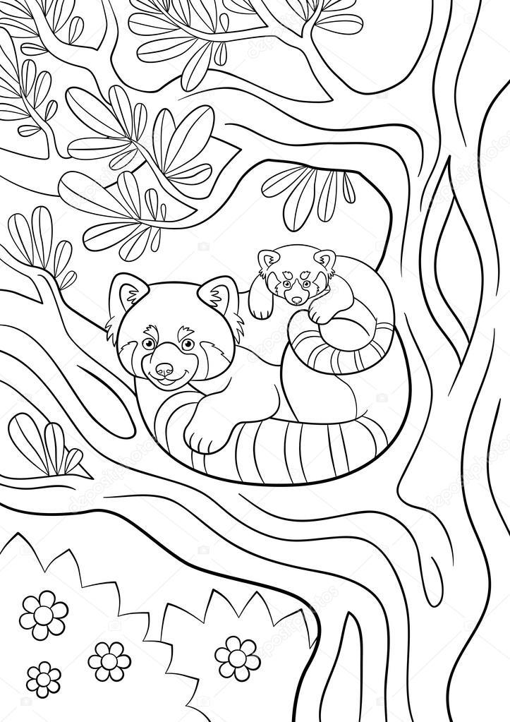 Dibujos para colorear. Mamá panda rojo con su lindo bebé — Vector de ...