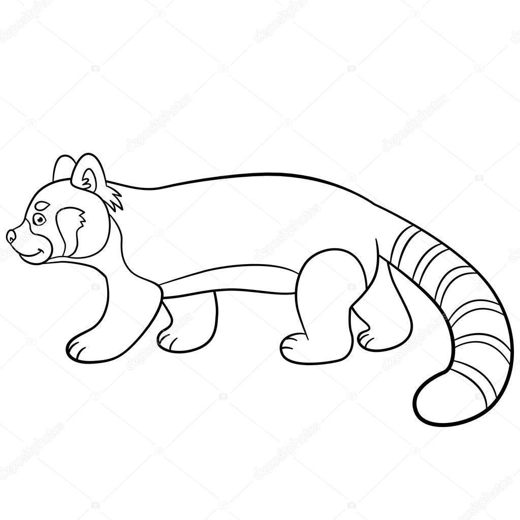 Dibujos para colorear. Pequeños paseos lindo panda rojo — Vector de ...