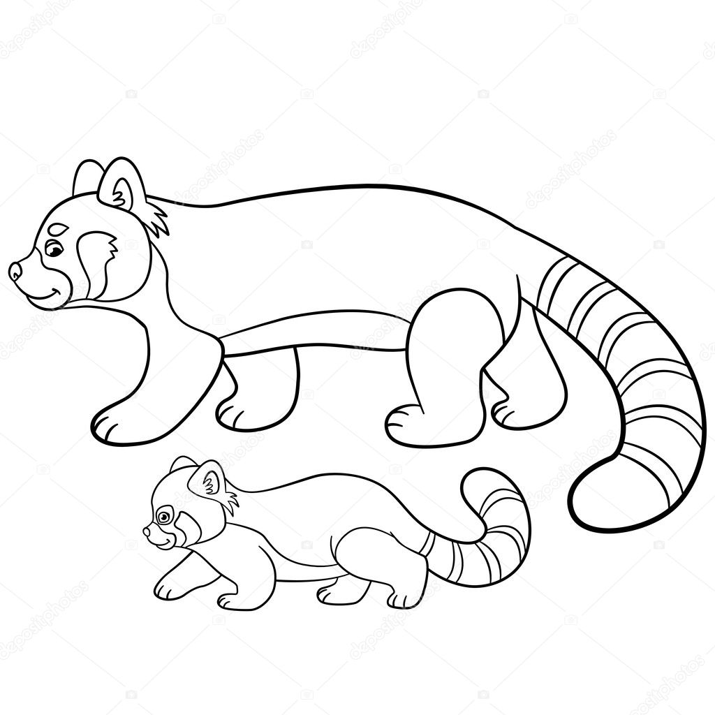 Coloring pages mother red panda walks with her baby stock illustration