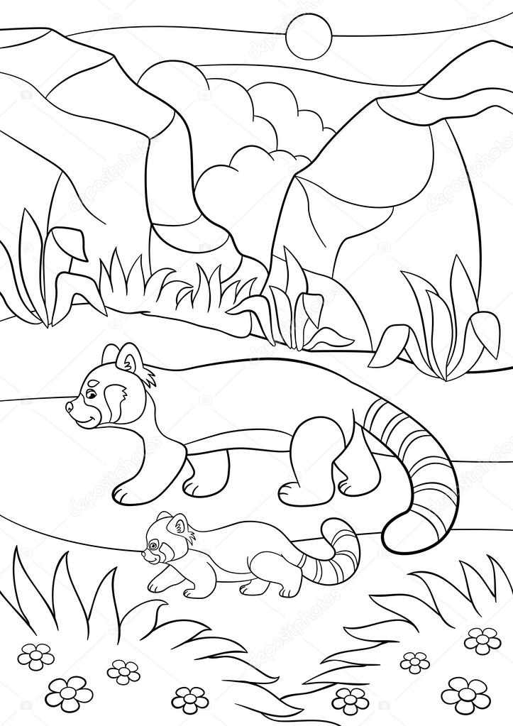 Dibujos para colorear. Panda rojo madre camina con su bebé — Vector ...