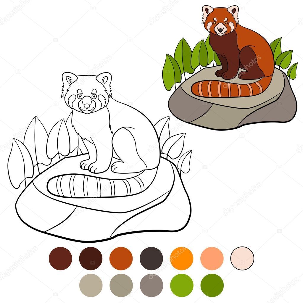 Página para colorear: panda rojo. Pequeñas sonrisas lindo panda rojo ...