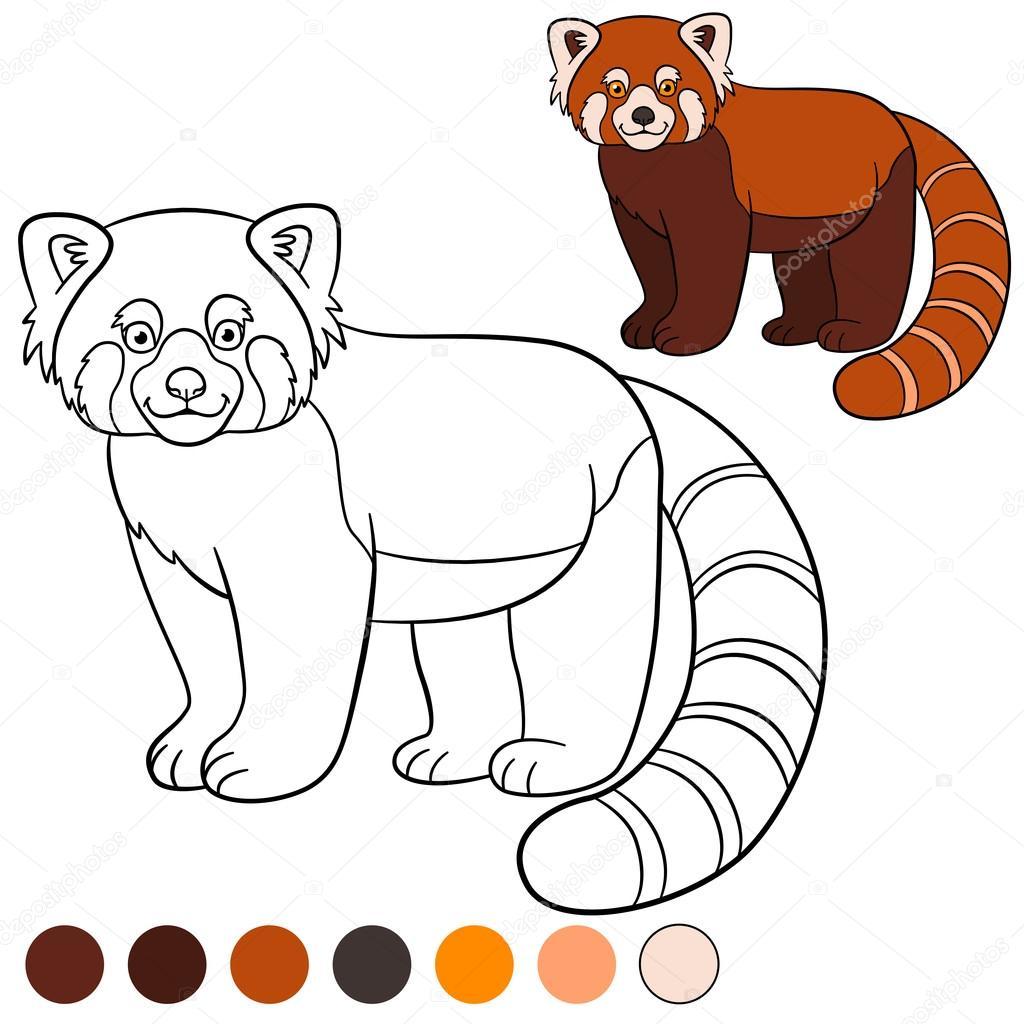 Malvorlagen: roter Panda. Kleine süße rote Panda lächelt ...