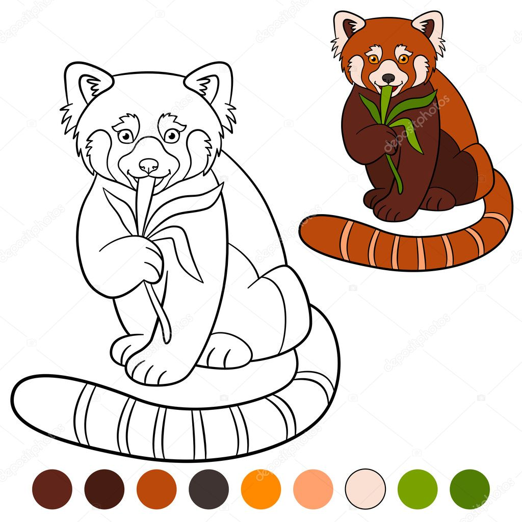 Malvorlagen: roter Panda. Kleine süße rote Pandas fressen Blätter ...