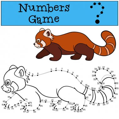 Educational game: Numbers game with contour. Little cute red pan