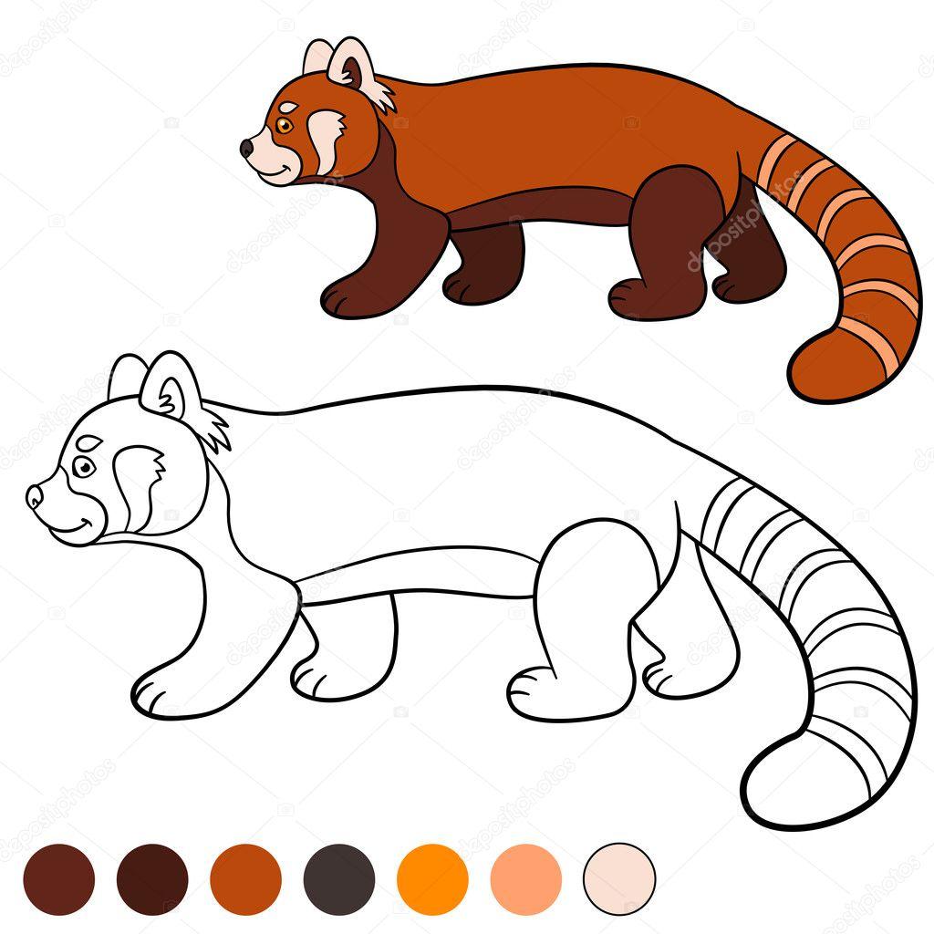 Página para colorear: panda rojo. Pequeños paseos lindo panda rojo ...