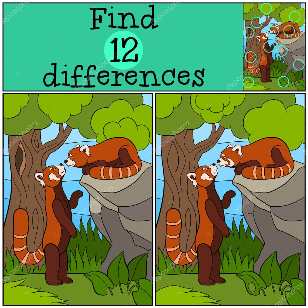 Educational game: Find differences. Two little cute red ...