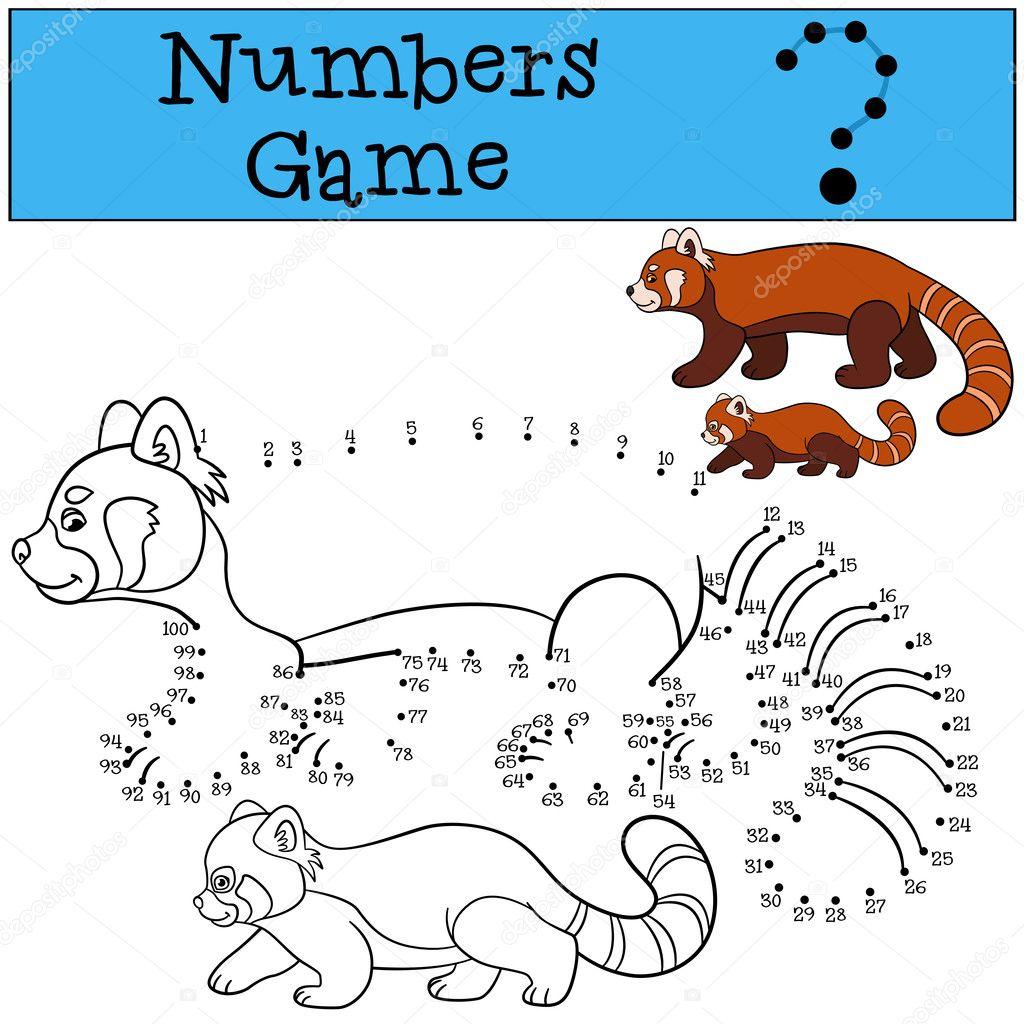 Lernspiel: Spiel mit Zahlen. Mutter Red Panda mit baby — Stockvektor ...