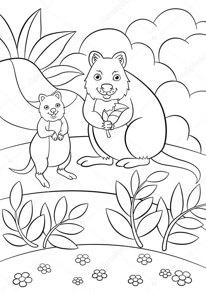kleurplaten moeder quokka met haar schattige baby