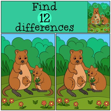 Educational game: Find differences. Mother quokka with her babie