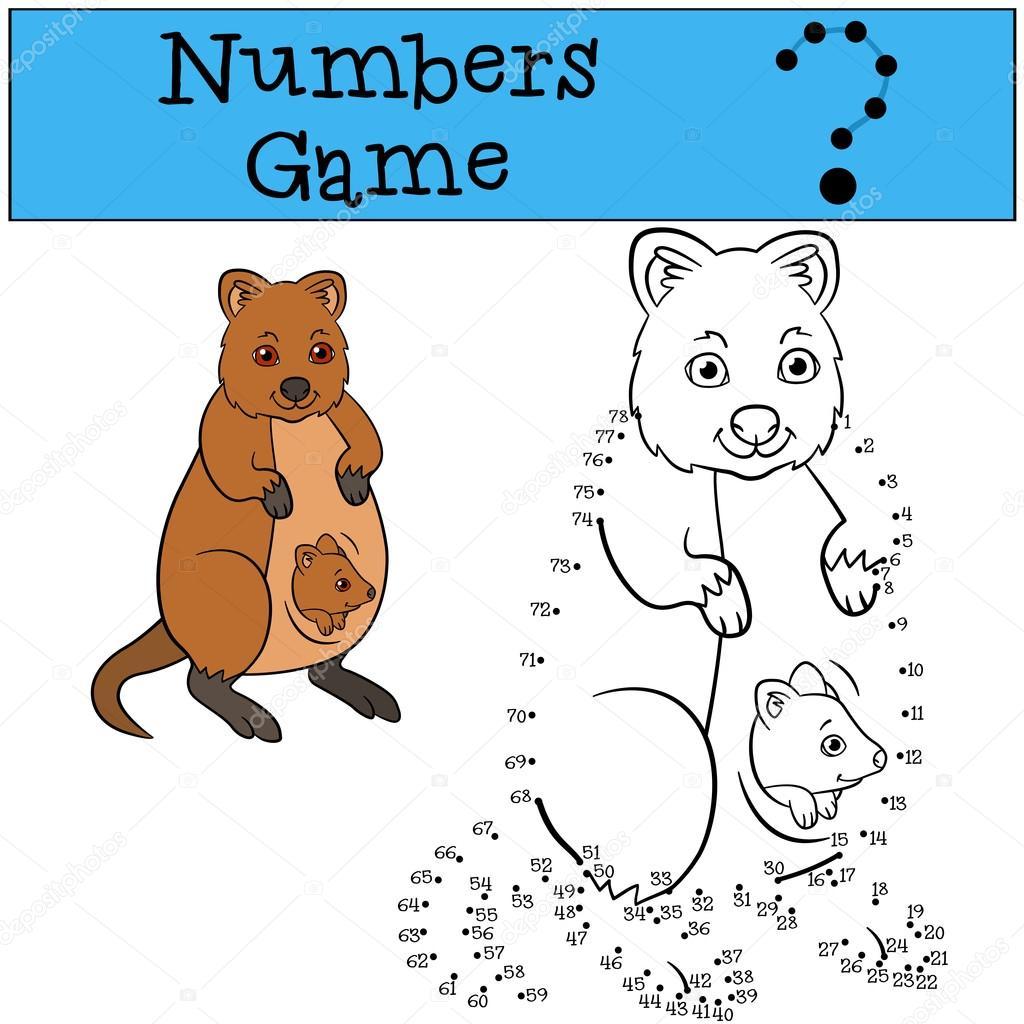Lernspiel: Spiel mit Zahlen. Mutter Quokka mit baby — Stockvektor ...