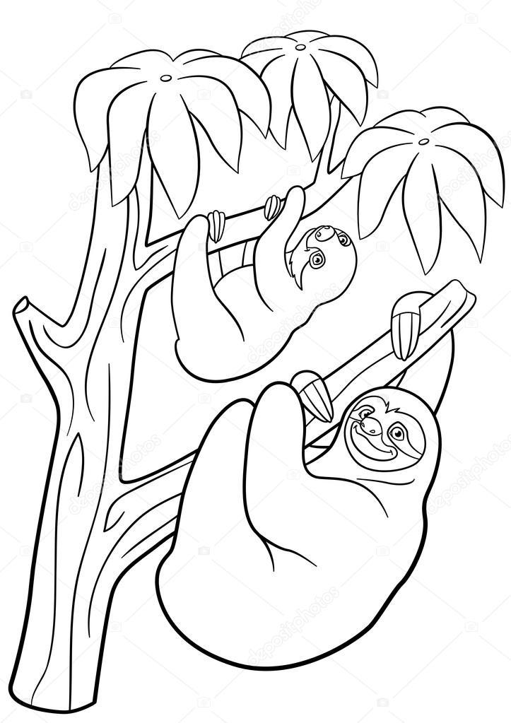 Malvorlagen. Mutter Faultier mit ihrem niedlichen baby — Stockvektor ...