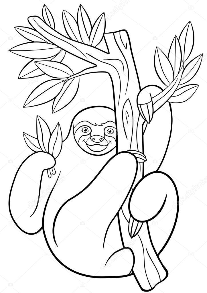 Malvorlagen. Niedliche faulen Faultier hängt am Baum — Stockvektor ...