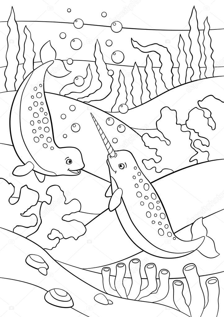 Dibujos para colorear. Dos narvales lindos poco nadan bajo el agua ...