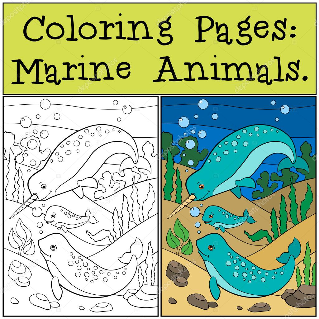 Dibujos para colorear: Animales marinos. Madre, padre y bebé ...