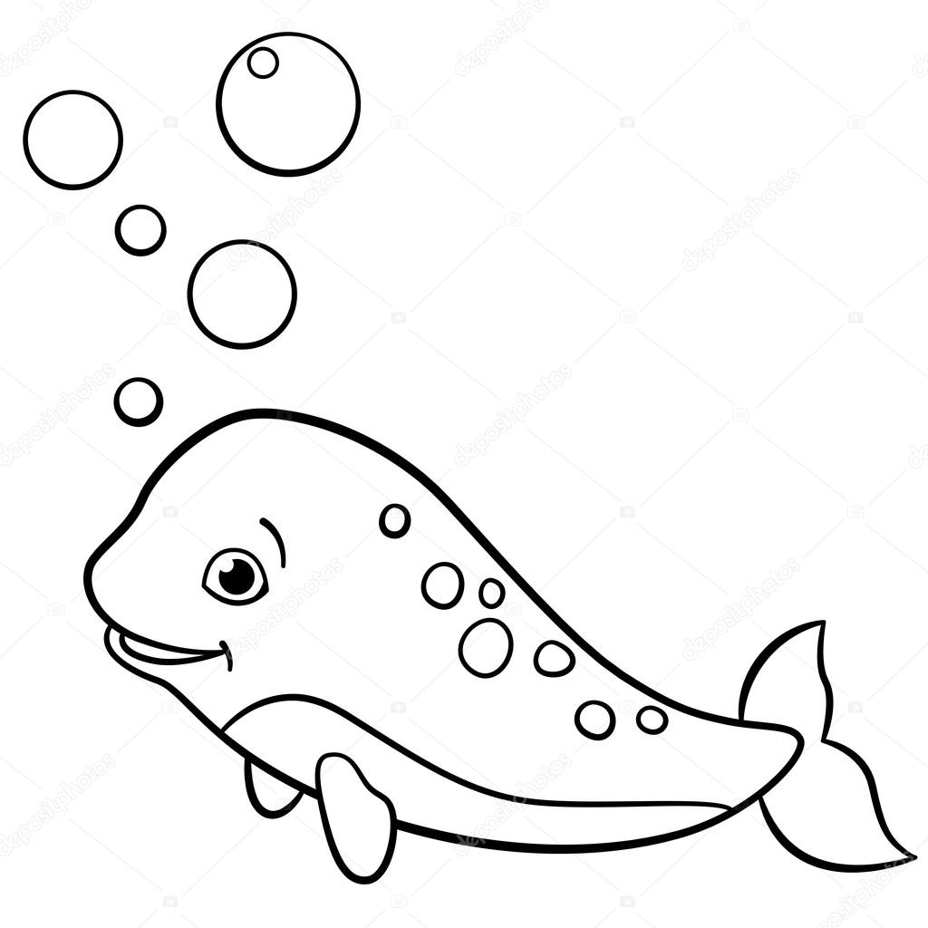 Coloring Pages Little Cute Baby Narwhal Swims Stock Vector