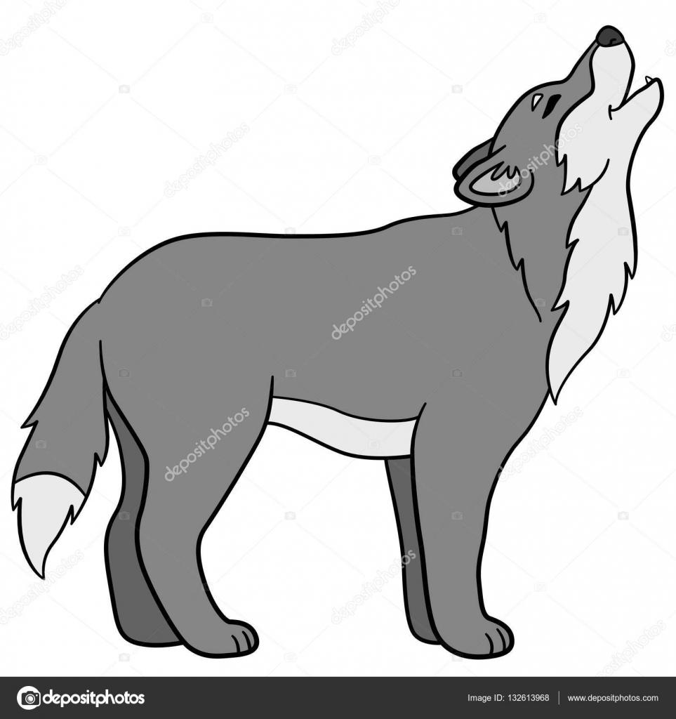 Animaux De Dessin Anime Magnifique Loup Hurle Image Vectorielle