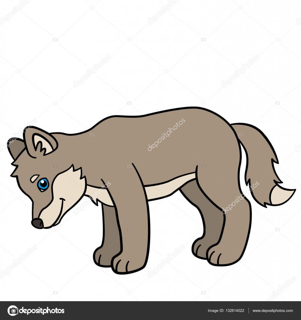 Animali del fumetto. sorrisi di lupo sveglio del bambino piccolo