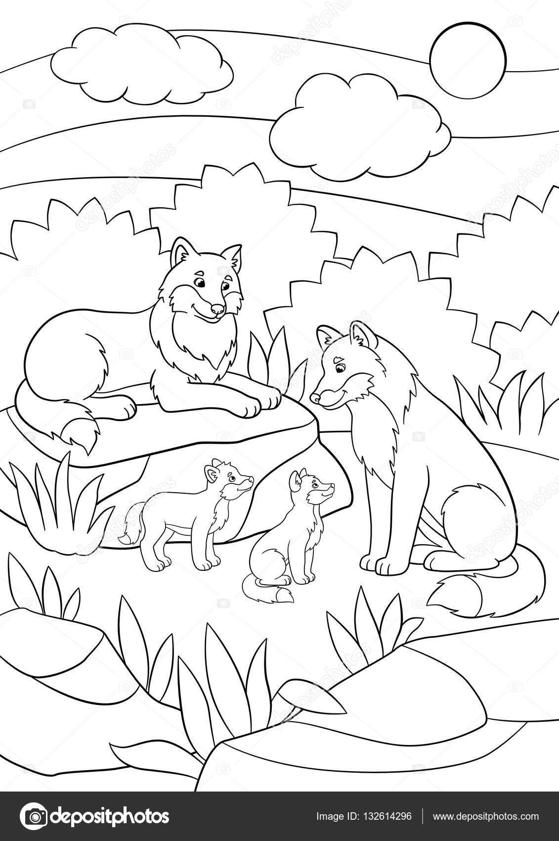 Dibujos para colorear. Lobos de la madre y el padre con sus hijos ...