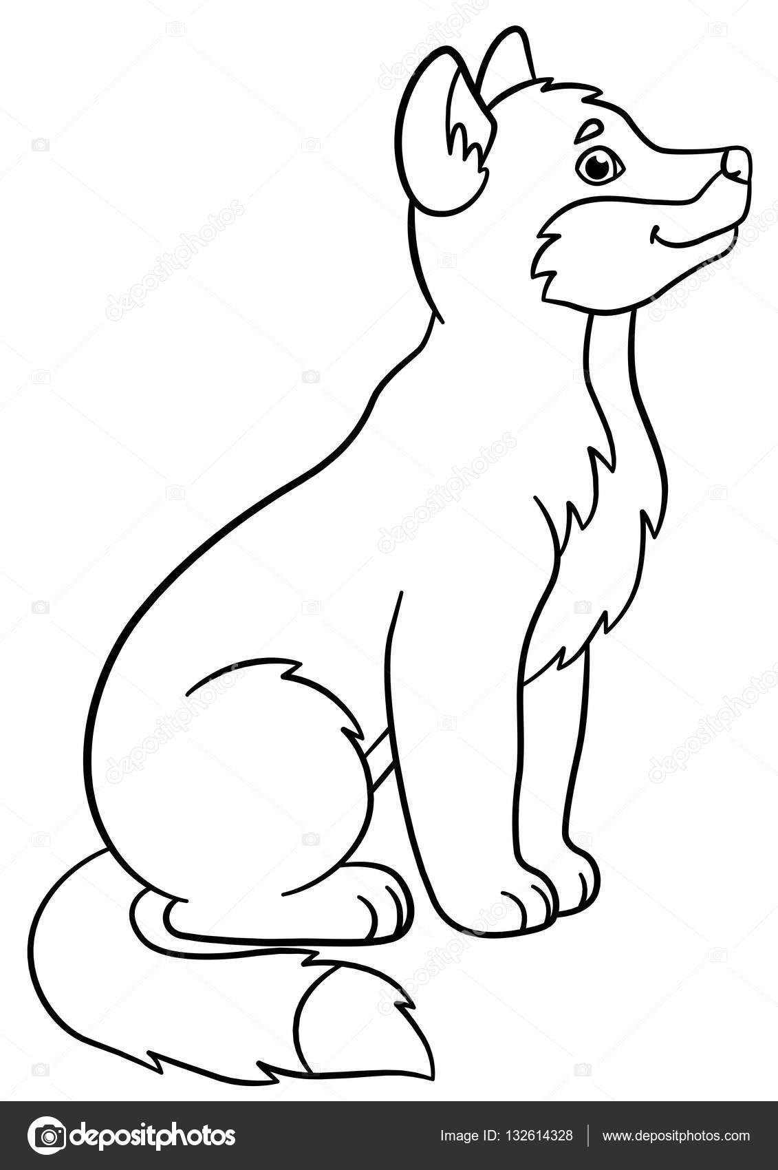 Dibujos para colorear. Sonrisas de lobo de lindo bebé poco — Vector ...