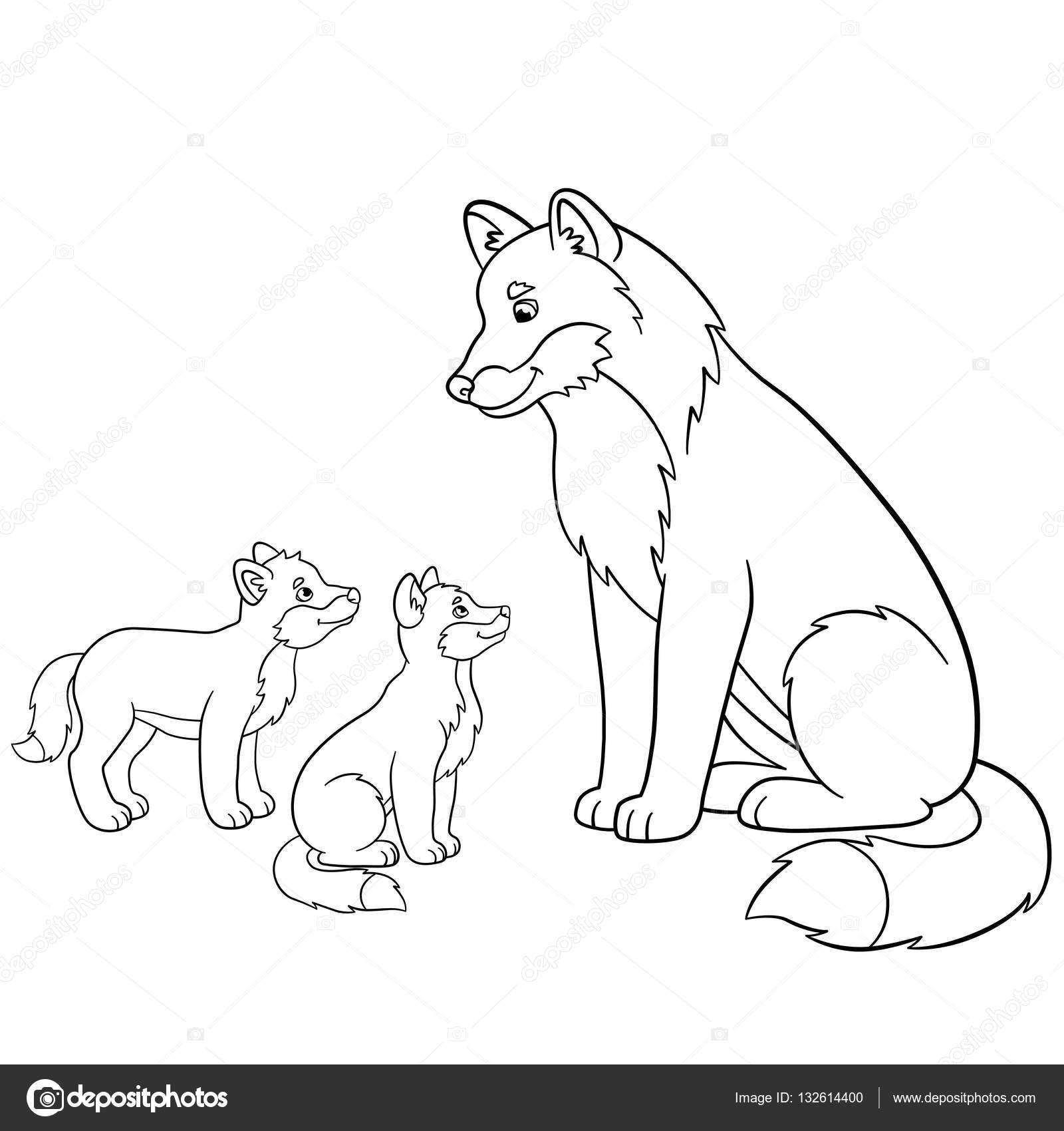 Dibujos para colorear. Padre lobo con sus bebés pequeños — Archivo ...