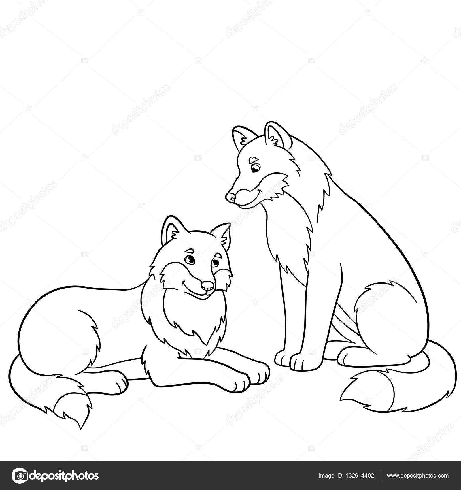 Páginas Para Colorir Dois Lobos Bonitos Bonitos Vetores De Stock