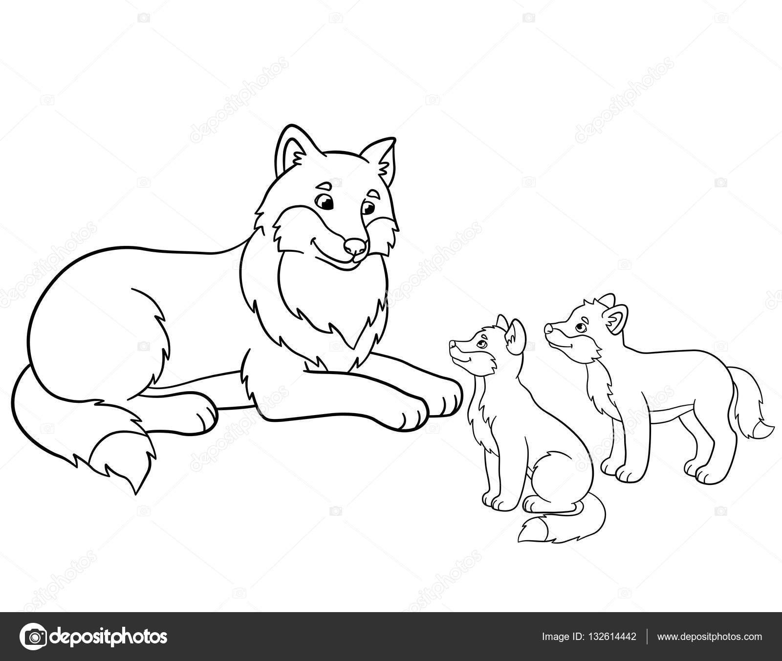 Dibujos para colorear. Lobo de la madre con sus pequeños bebés ...