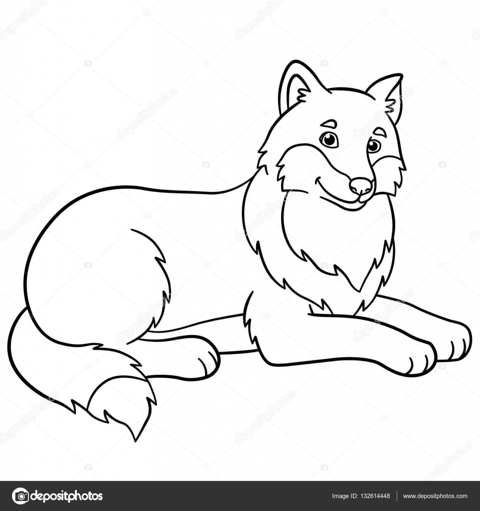 Coloring pages. Cute beautiful wolf smiles. — Stock Vector © ya ...