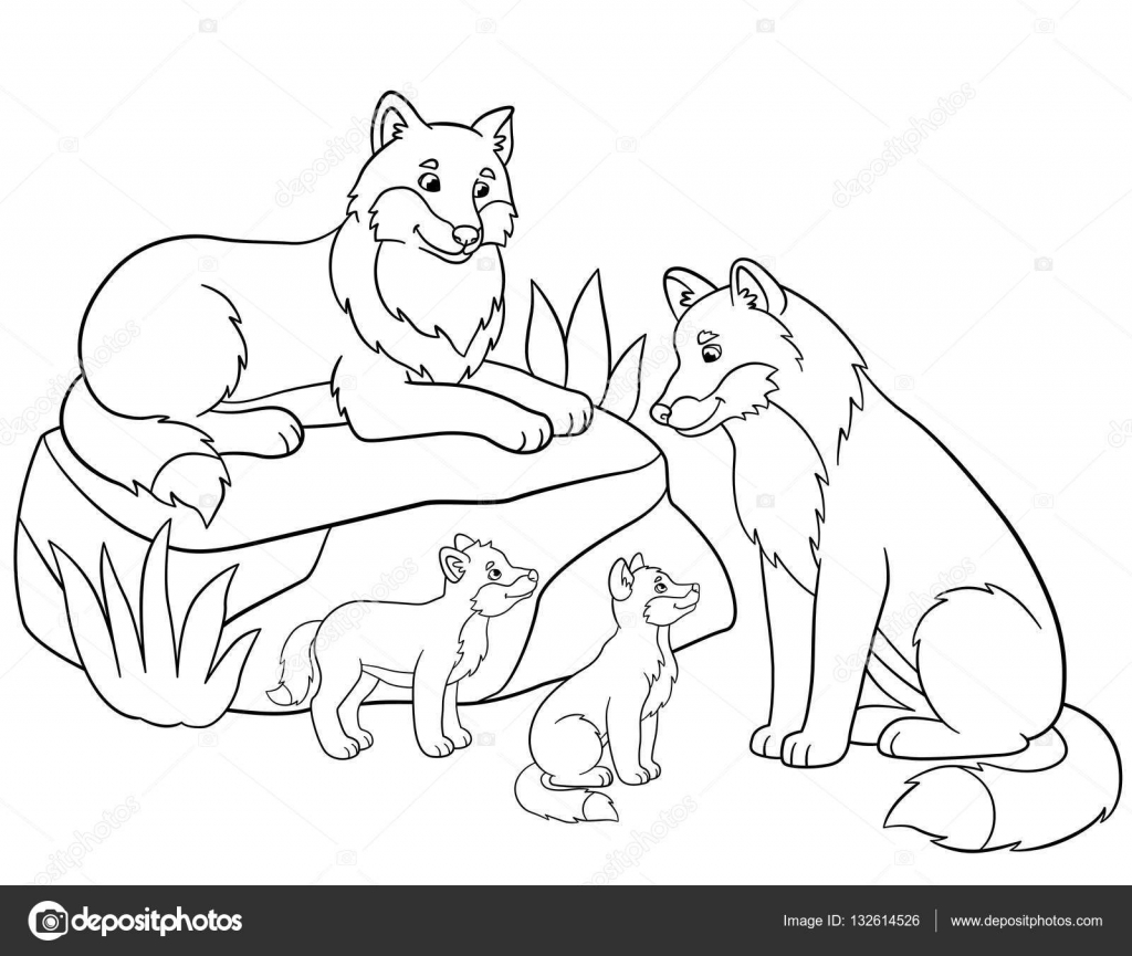 Coloring pages. Mother and father wolves with their babies. — Stock ...