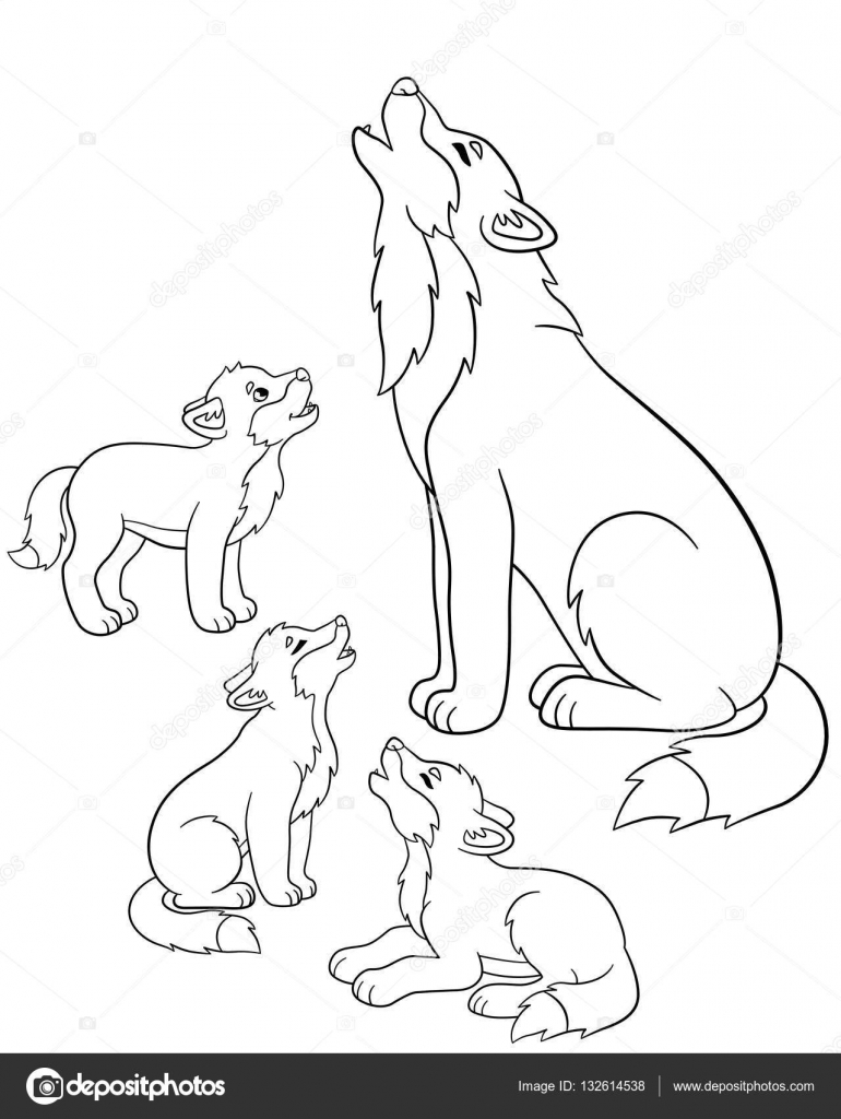 Free Wolf With Pup Coloring Pages, Download Free Clip Art, Free ... | 1024x770