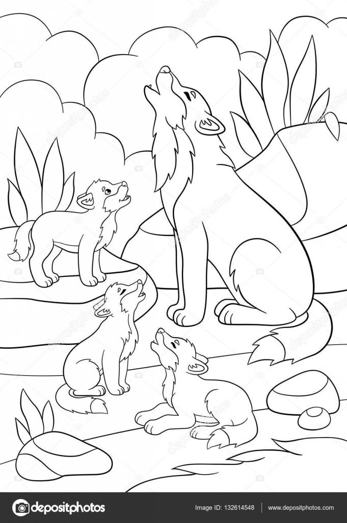 Dibujos para colorear. Padre lobo aúlla con sus pequeños bebés ...