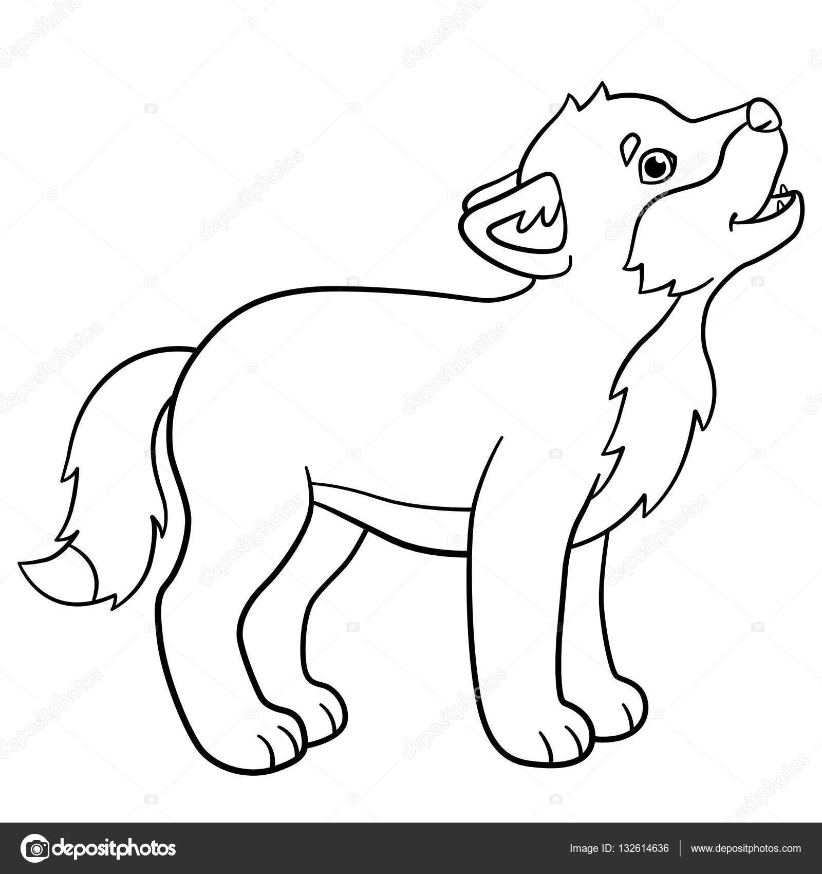 Dibujos para colorear. Aullidos de lobo de lindo bebé poco — Archivo ...