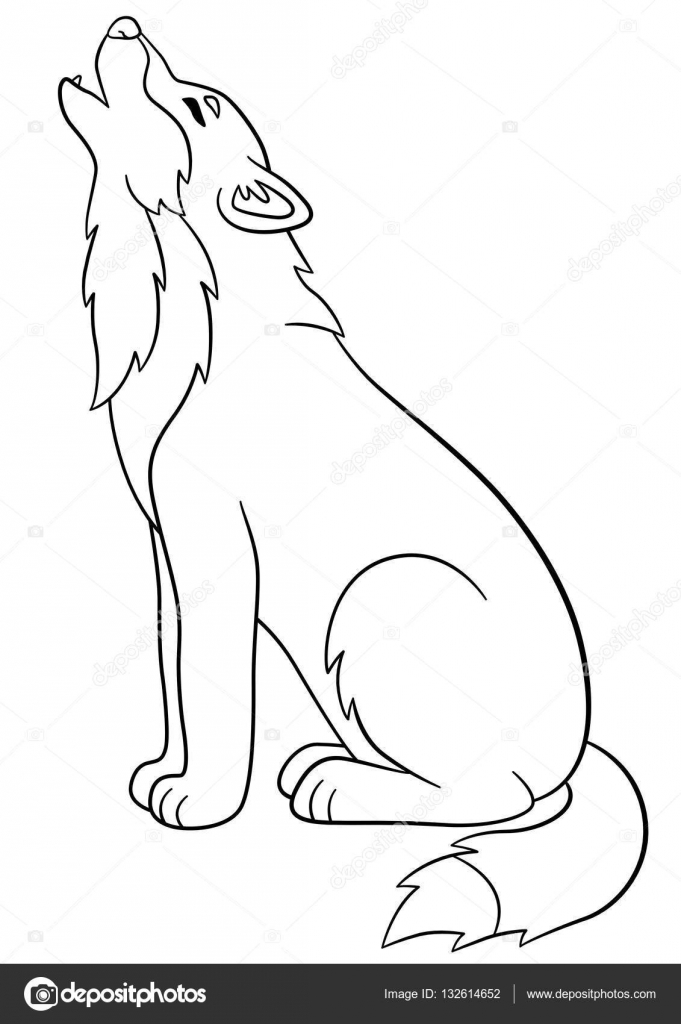 coloring pages cute beautiful wolf howling stock vector 132614652