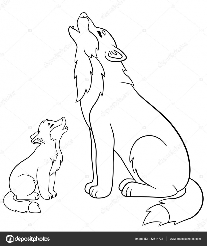 coloring pages father wolf howls with his cute baby stock vector 132614734