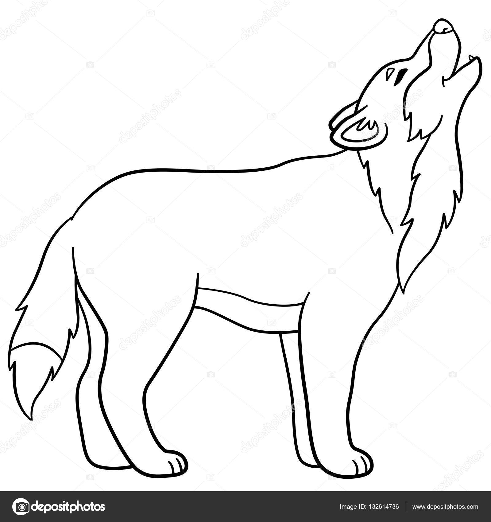 coloring pages cute beautiful wolf howling stock vector 132614736