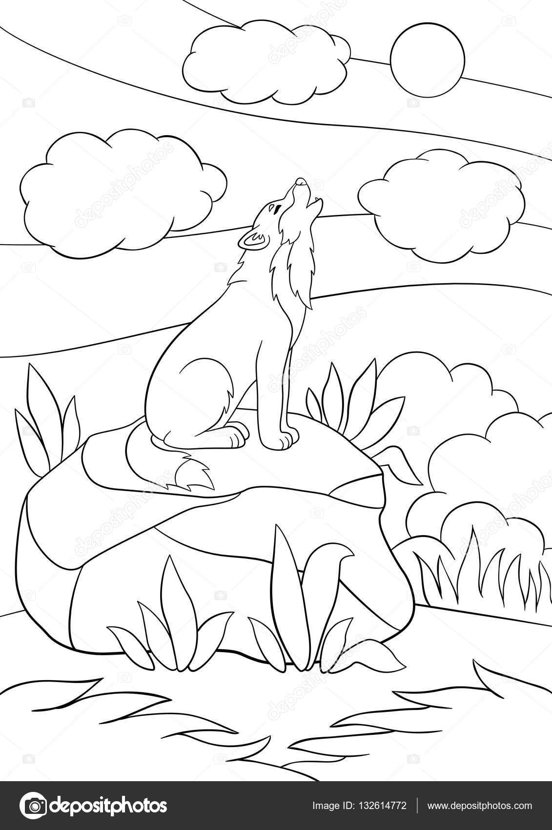 раскраски страниц милый красивый волк воет векторное