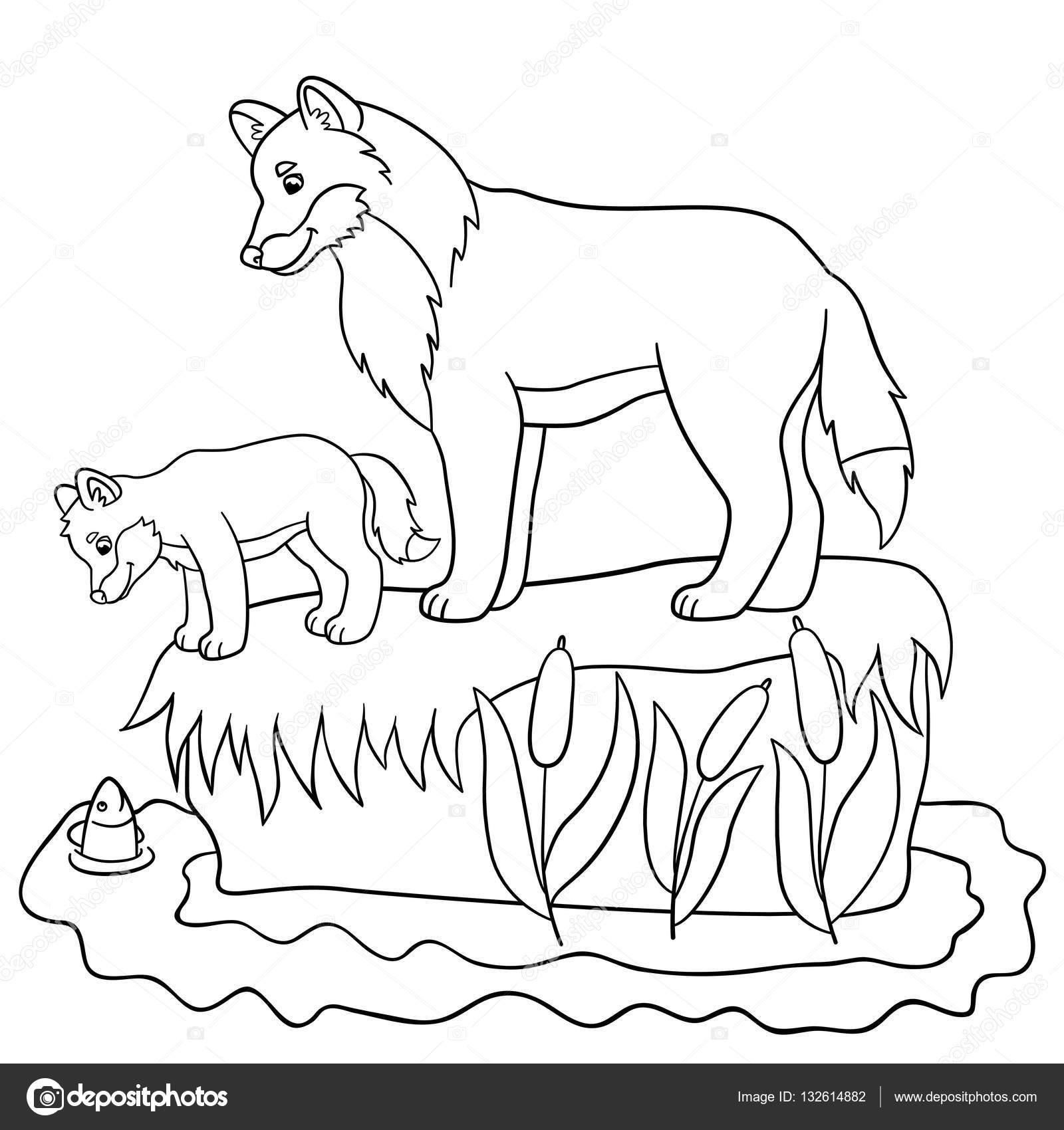 Dibujos para colorear. Padre lobo con su lindo bebé — Archivo ...