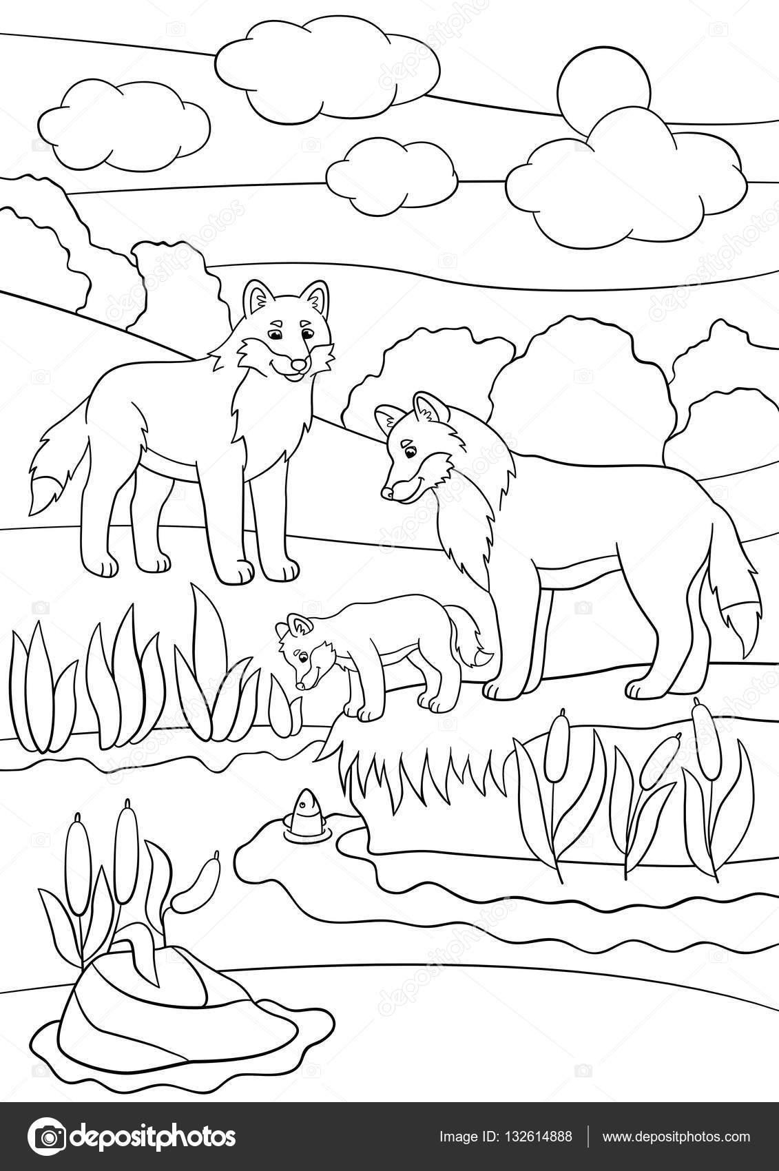 Malvorlagen. Mutter und Vater Wölfe Blick auf ihr baby — Stockvektor ...