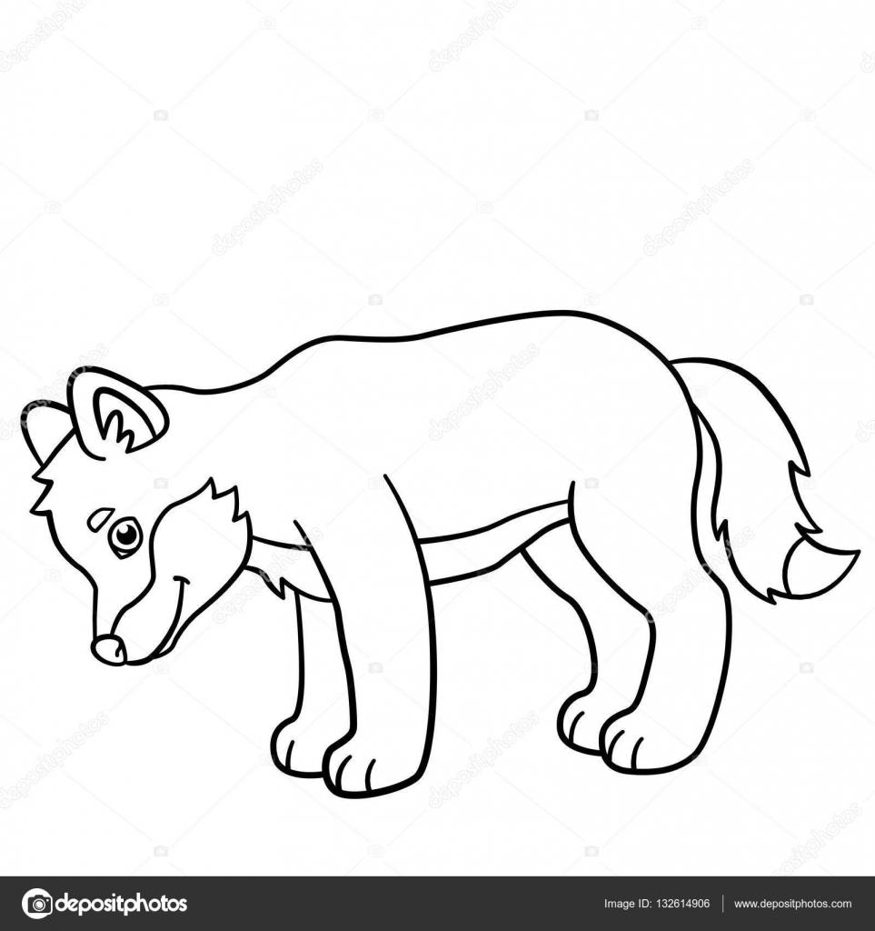 Dibujos para colorear. Sonrisas de lobo de lindo bebé poco — Archivo ...