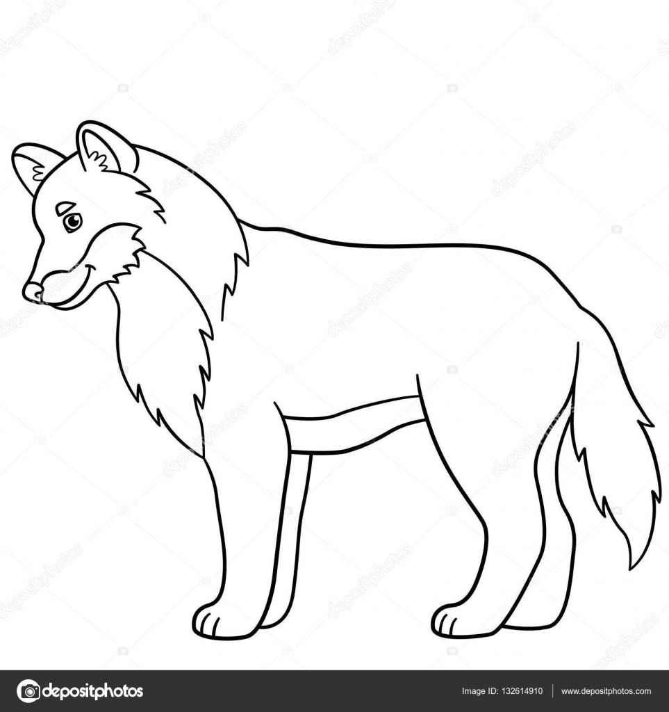 Coloring Pages Cute Beautiful Wolf Smiles Stock Vector C Ya