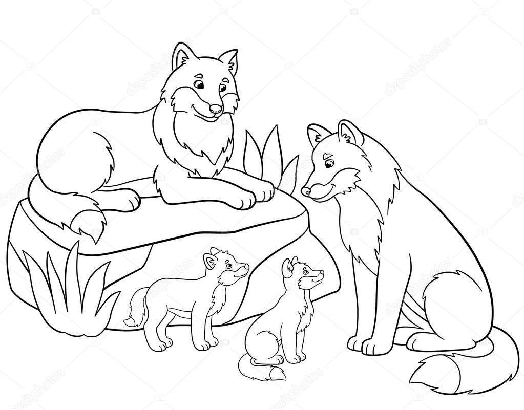 Imagenes Animadas Para Colorear: Imágenes: Familia De Lobos Para Dibujar