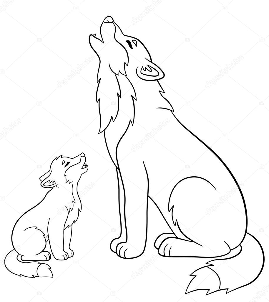 Раскраска волка. Раскраски страниц. Отец волк воет с его ...