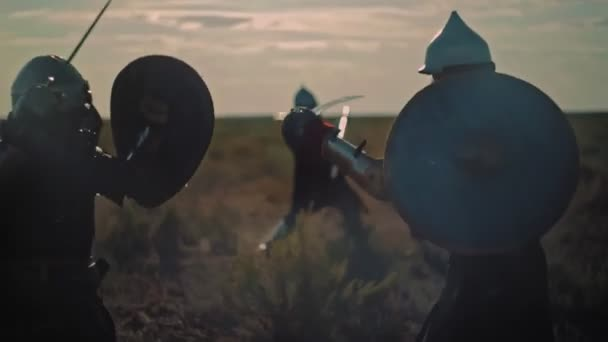 ASTANA, KAZAKHSTAN - MAY 8, 2017: Historical battle of two war teams with spear swords and shields