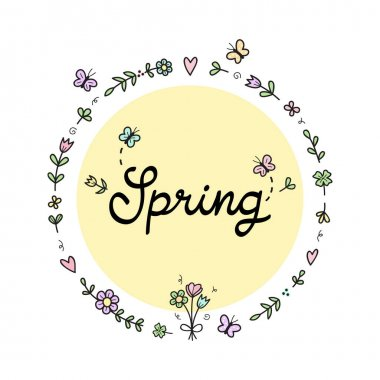 Spring floral wreath vector illustration. Hand drawn outlined flowers, plants and butterflies in circle with handwriting. Seasonal greeting card, isolated.