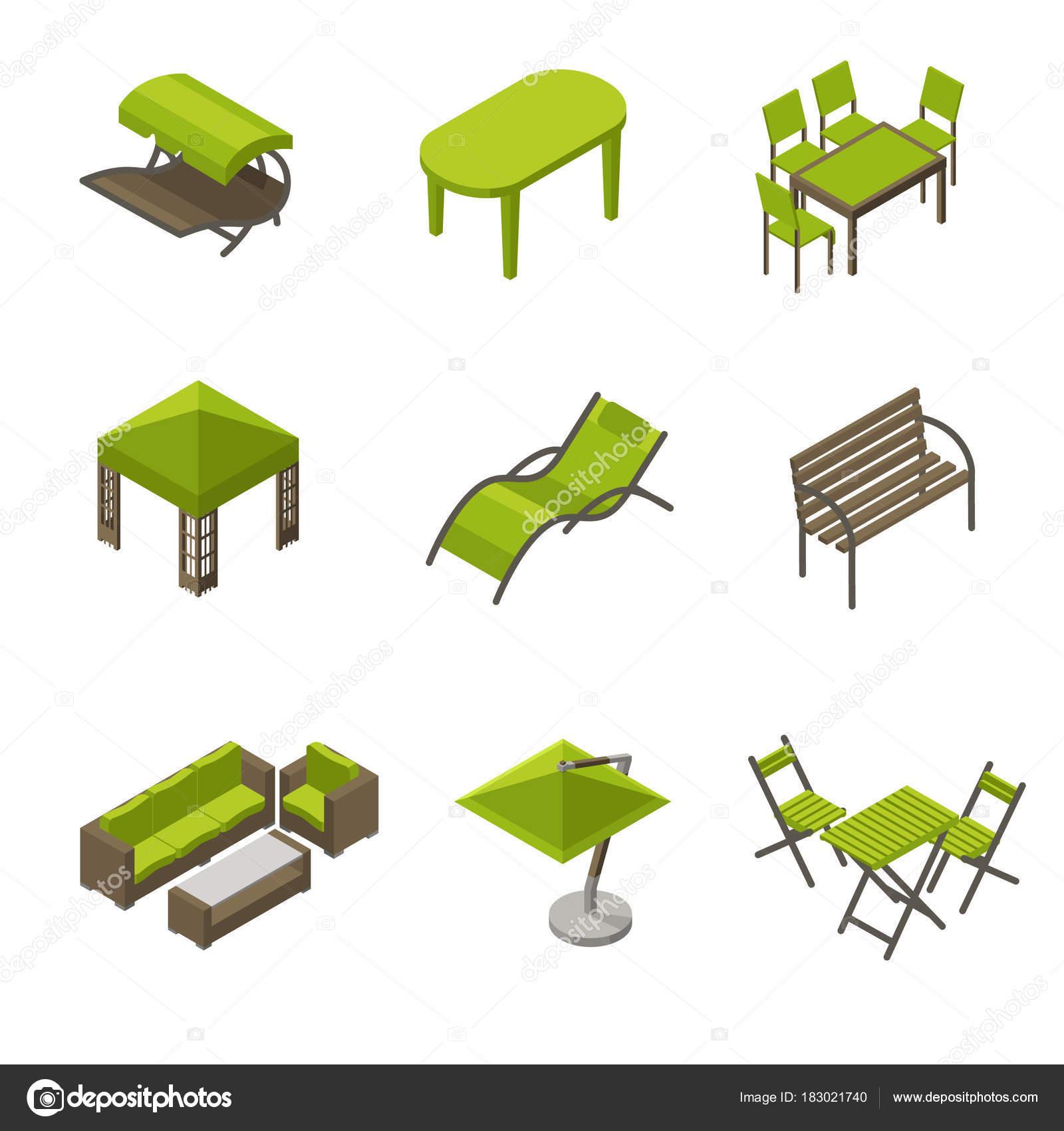 Icono Conjunto Muebles Jardín Estilo Isométrico Isométricos Iconos ...
