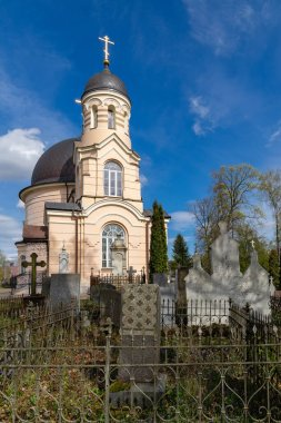 A fragment of an orthodox Liepkalnis (Euphrosyne) cemetery in Vilnius, Lithuania. Church of Saint Euphrosyne of Polotsk. The cemetery founded in 1795, when Lithuania became part of the Russian Empire