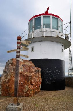 South Africa: the post indicating the distance from the famous capitals and the Cape Point Lighthouse