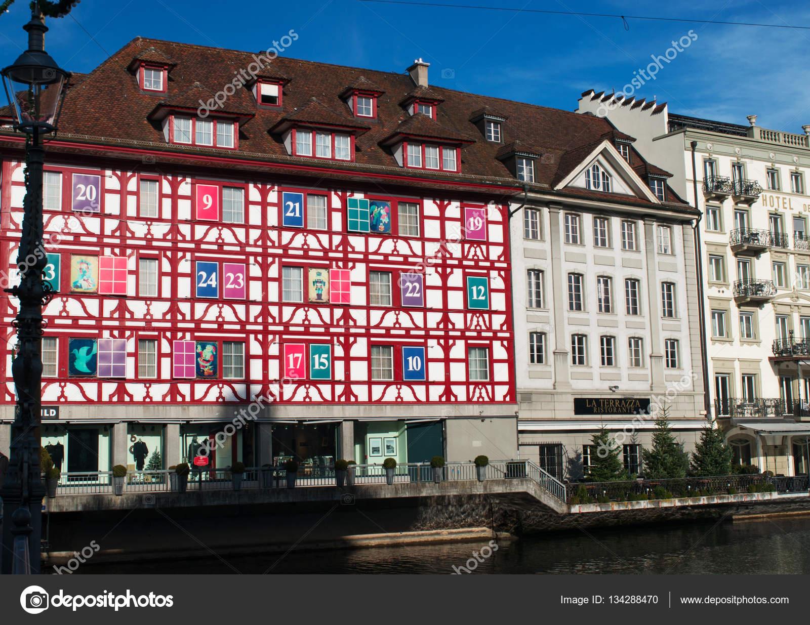 Switzerland An Advent Calendar Building In Lucerne Stock