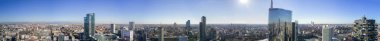 Aerial view of 360 degrees of the center of Milan, Vertical Forest, Unicredit Tower, Palazzo Lombardia, Torre Solaria, Diamond Tower, Milan, Porta Nuova residences and skyscrapers, Italy, Jan. 6, 2017.